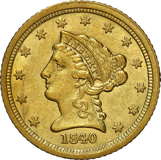 Picture of 1840-C LIBERTY HEAD $2.5 AU58