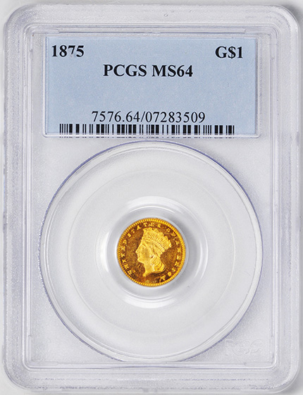 Picture of 1875 GOLD G$1, TYPE 3 MS64