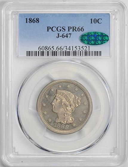 Picture of 1868 10C J-647 PR66+
