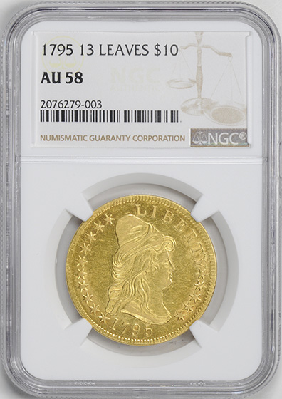 Picture of 1795 DRAPED BUST $10, 13 LEAVES, SMALL EAGLE AU58