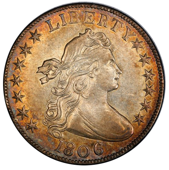 Picture of 1806 DRAPED BUST 50C, KNOB 6, SMALL STARS AU58