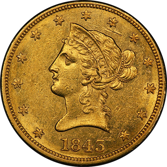 Picture of 1843 LIBERTY HEAD $10 AU58