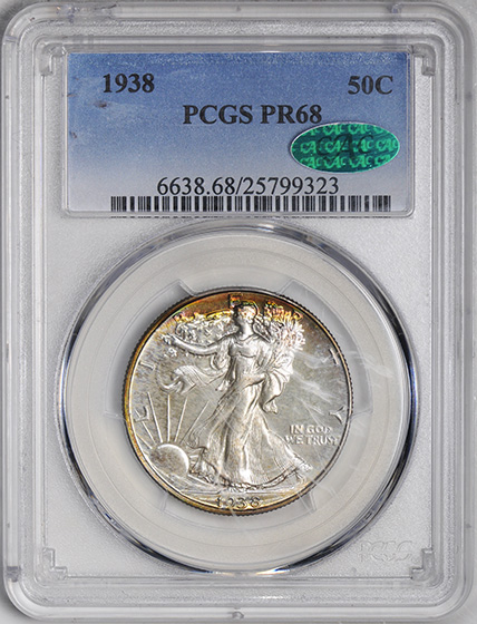 Picture of 1938 WALKING LIBERTY 50C PR68