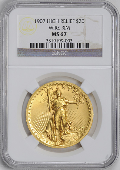 Picture of 1907 ST. GAUDENS $20, HIGH RELIEF-WIRE EDGE MS67