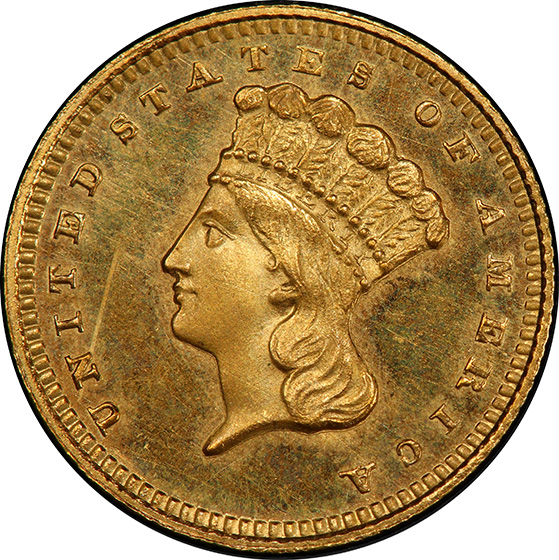 Picture of 1859 GOLD G$1, TYPE 3 PR65 Cameo