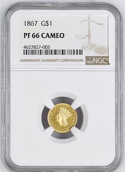 Picture of 1867 GOLD G$1, TYPE 3 PF66 Cameo