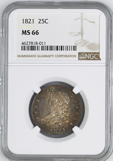 Picture of 1821 CAPPED BUST 25C MS66