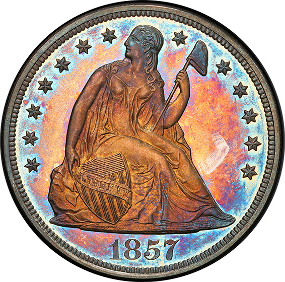 Picture of 1857 LIBERTY SEATED S$1, NO MOTTO PR65+