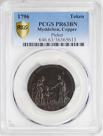 Picture of 1796 MYDDELTON TOKEN PR63 Brown