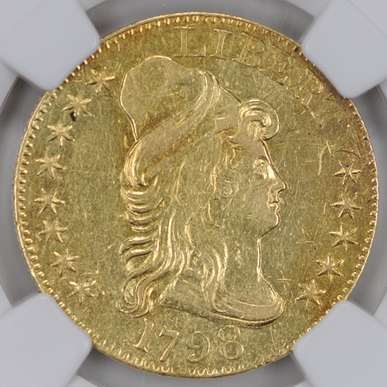 Picture of 1798 DRAPED BUST $5, LARGE 8, 13 ST REV AU58