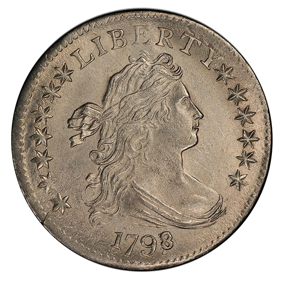 Picture of 1798/97 DRAPED BUST 10C, 16 STARS REVERSE MS64