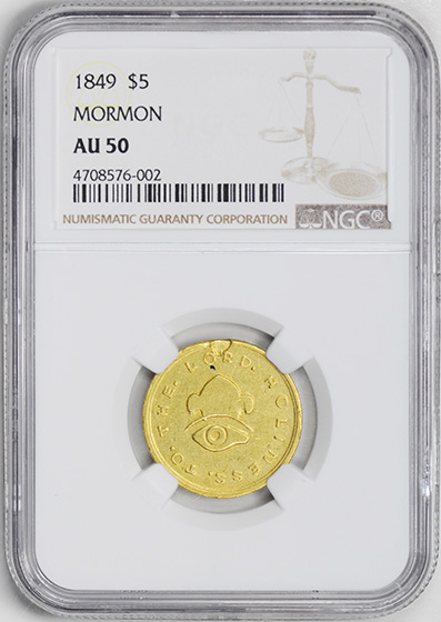 Picture of 1849 MORMON $5 GOLD, MORMON AU50