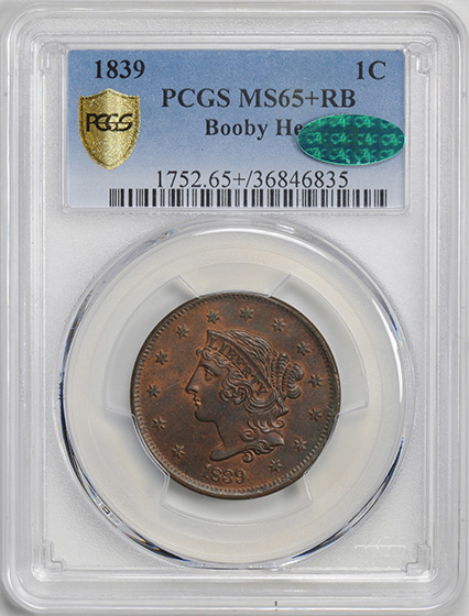 Picture of 1839 CORONET HEAD 1C, BOOBY HEAD MS65+ Red Brown