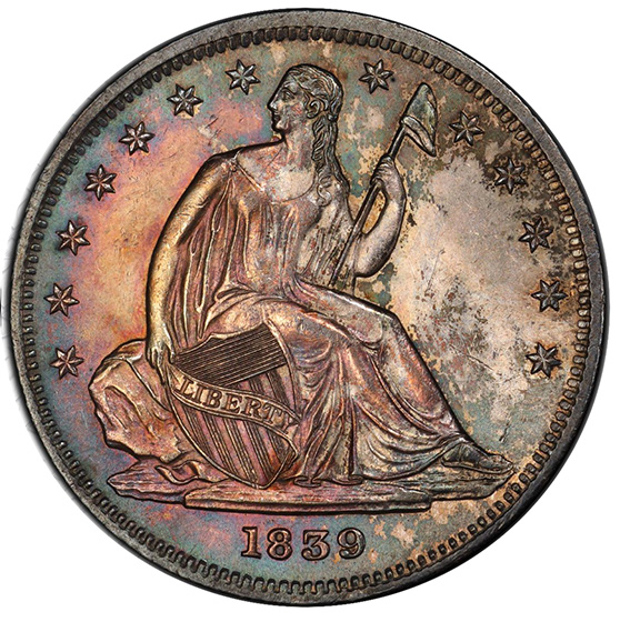 Picture of 1839 LIBERTY SEATED 50C, NO DRAPERY MS65