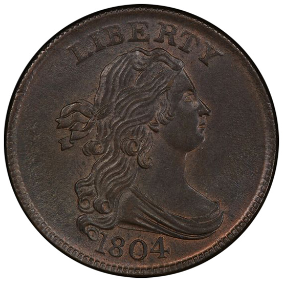 Picture of 1804 DRAPED BUST 1/2C, CROSSLET 4, STEMS MS65+ Brown