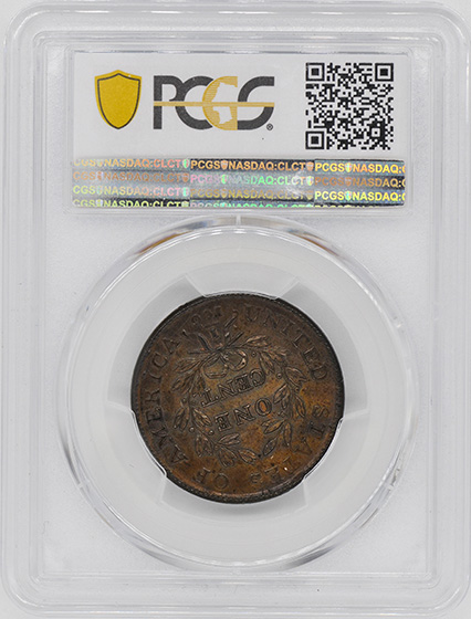 Picture of 1798 DRAPED BUST 1C, 2ND HAIR STYLE MS65+ Brown