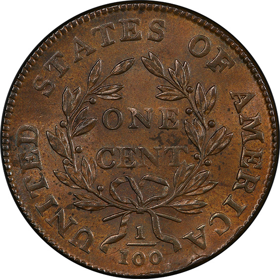 Picture of 1800/79 DRAPED BUST 1C MS63+ Brown