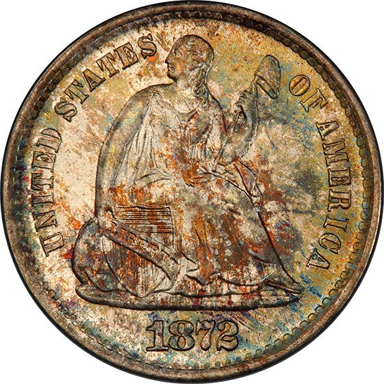 Picture of 1872-S LIBERTY SEATED H10C, MINTMARK BELOW MS68