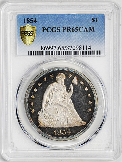 Picture of 1854 LIBERTY SEATED S$1, NO MOTTO PR65 Cameo