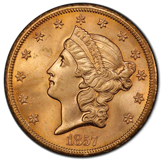 Picture of 1857-S LIBERTY HEAD $20 MS65