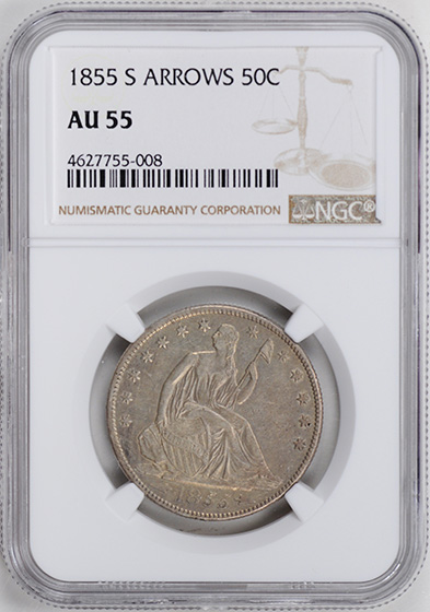 Picture of 1855-S LIBERTY SEATED 50C, ARROWS AU55