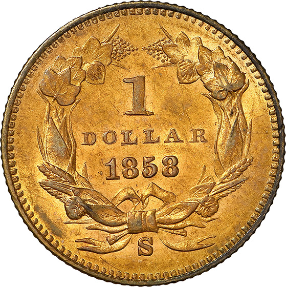 Picture of 1858-S GOLD G$1, TYPE 3 MS62