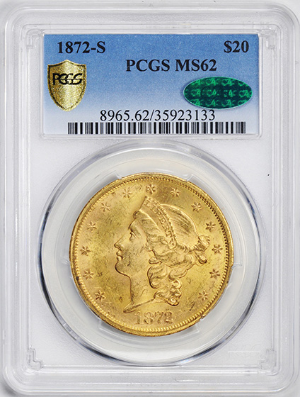 Picture of 1872-S LIBERTY HEAD $20 MS62