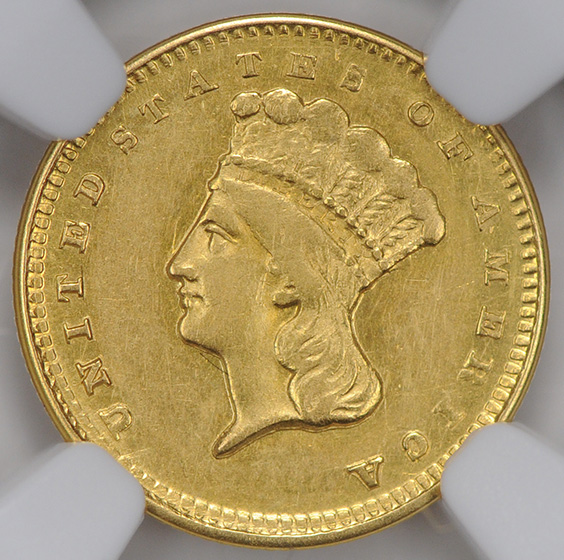 Picture of 1856-D GOLD G$1, TYPE 3 AU55