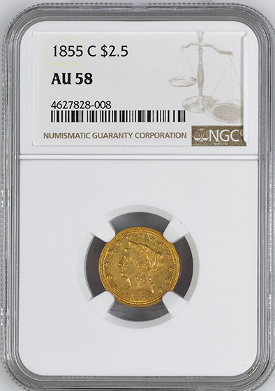 Picture of 1855-C LIBERTY HEAD $2.5 AU58