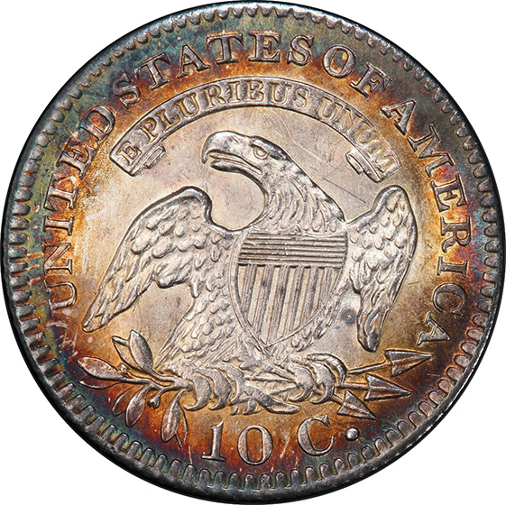 Picture of 1821 CAPPED BUST 10C, LARGE DATE MS65