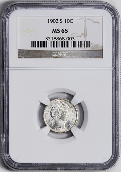 Picture of 1902-S BARBER 10C MS65