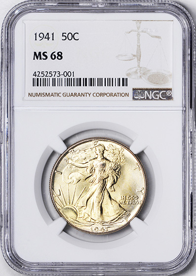 Picture of 1941 WALKING LIBERTY 50C MS68