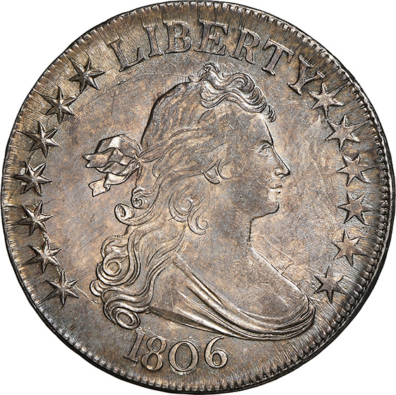 Picture of 1806 DRAPED BUST 50C, POINTED 6, STEM MS63