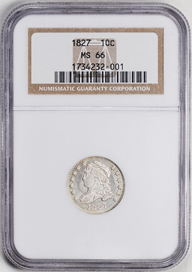 Picture of 1827 CAPPED BUST 10C MS66