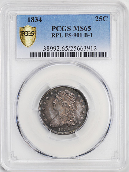 Picture of 1834 CAPPED BUST 25C MS65