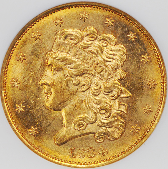 Picture of 1834 CLASSIC HEAD $5, CLASSIC-CROSS 4 MS64