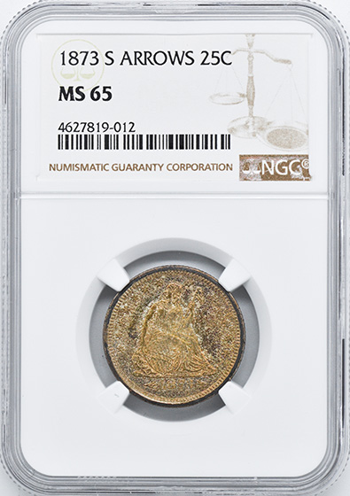 Picture of 1873-S LIBERTY SEATED 25C, ARROWS MS65
