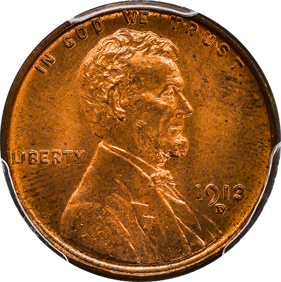 Picture of 1913-D LINCOLN BRONZE 1C MS66 Red