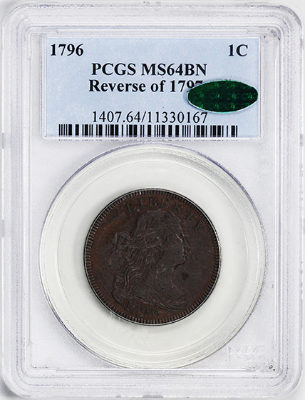 Picture of 1796 DRAPED BUST 1C, REVERSE OF 1797 MS64 Brown