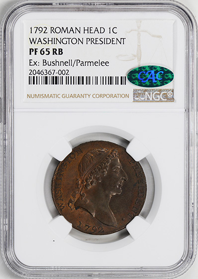 Picture of 1792 WASH, ROMAN HEAD CENT PR65 Red Brown