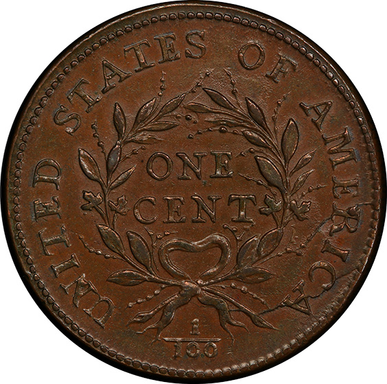 Picture of 1793 WREATH 1C, VINE AND BARS EDGE MS64+ Brown