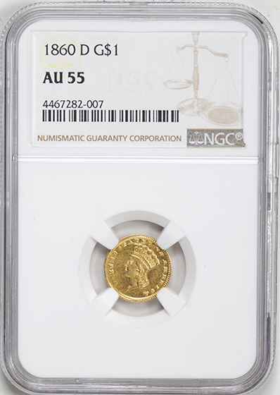 Picture of 1860-D GOLD G$1, TYPE 3 AU55