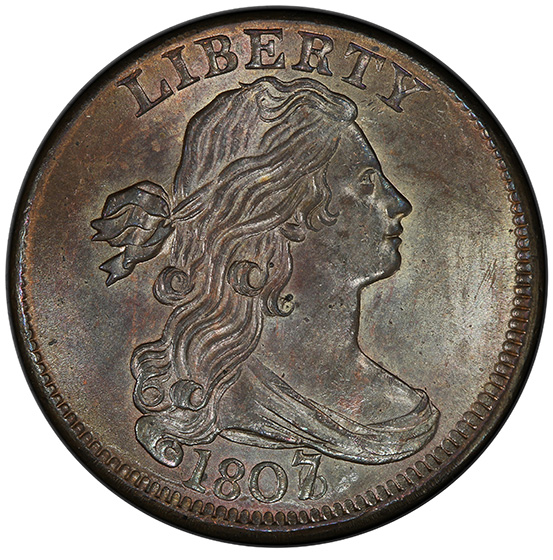 Picture of 1807/6 DRAPED BUST 1C, LARGE 7 MS66 Brown