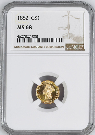 Picture of 1882 GOLD G$1, TYPE 3 MS68