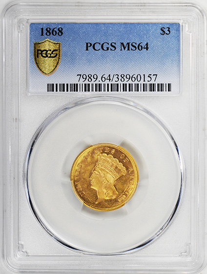 Picture of 1868 INDIAN PRINCESS $3 MS64