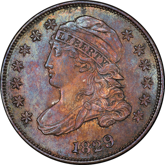 Picture of 1829 CAPPED BUST 10C MS65