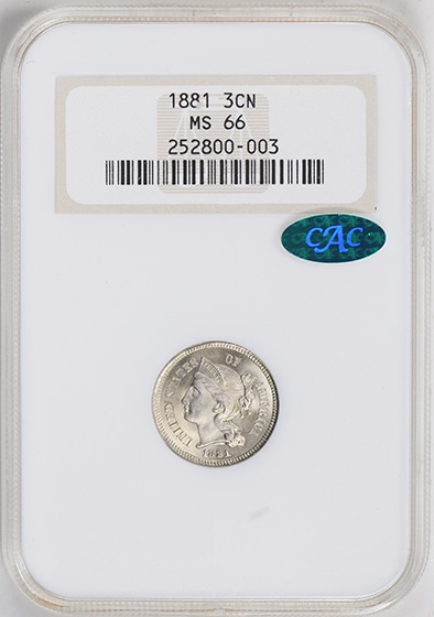 Picture of 1881 NICKEL 3CN MS66