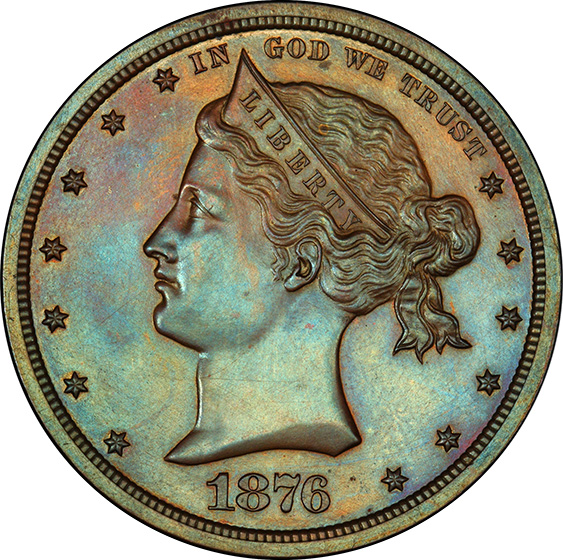 Picture of 1876 SAILOR HEAD $1, J-1458a PR62 Brown