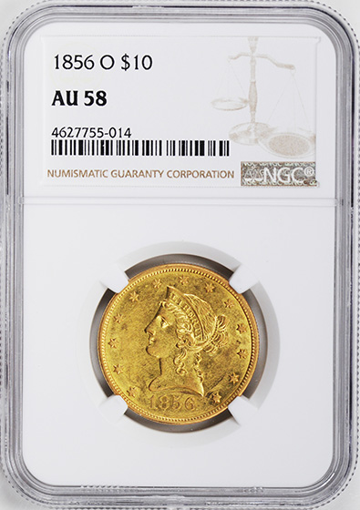 Picture of 1856-O LIBERTY HEAD $10 AU58