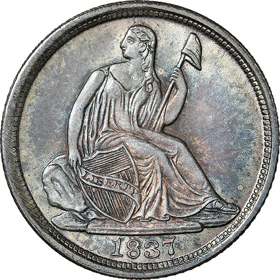 Picture of 1837 LIBERTY SEATED H10C, NO STARS, LARGE DATE MS67